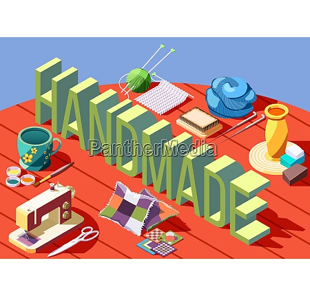 hobby crafts isometric composition with various