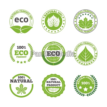 ecological green leaves symbols earth friendly