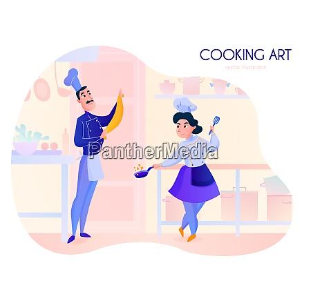 two cooks working in restaurant kitchen