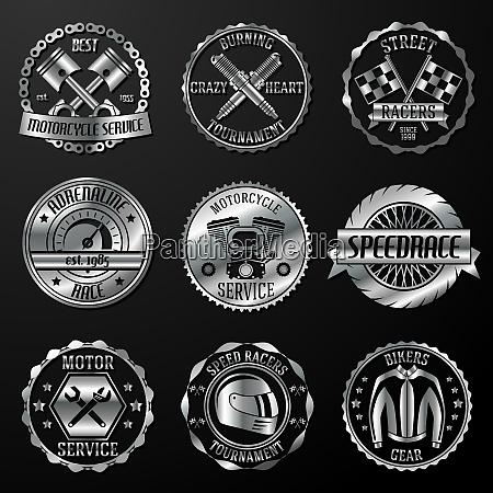 motorcycle racing tournament motor service emblems