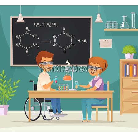 flat colored inclusion inclusive education cartoon