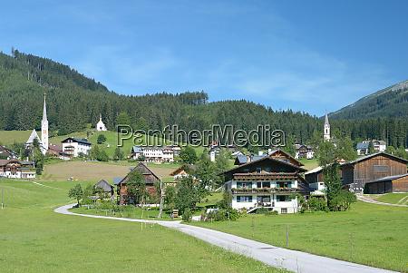 village of gosau in gosautal valley