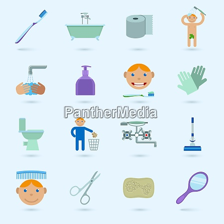 hygiene cleaning washing bathroom icons set