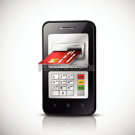 mobile banking realistic concept with mobile