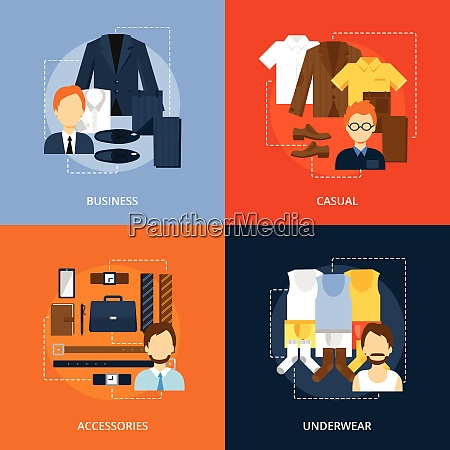 men clothes icons flat set with