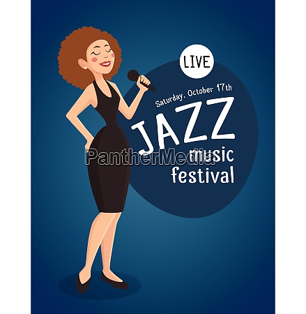 woman jazz singer with a poster