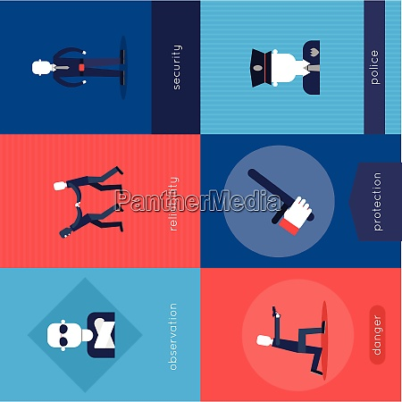 security guard mini poster set with