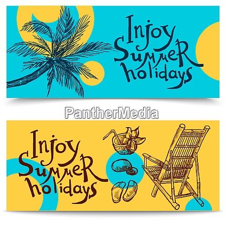 summer beach holidays sketch horizontal banners