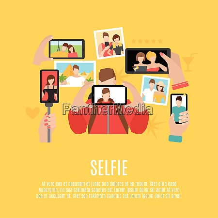 selfie pictures taking flat icons composition