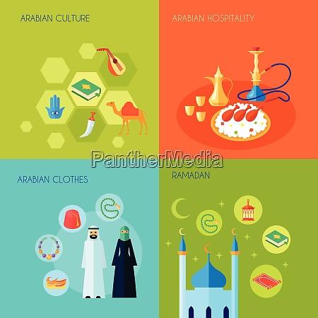 arabic culture design concept set with