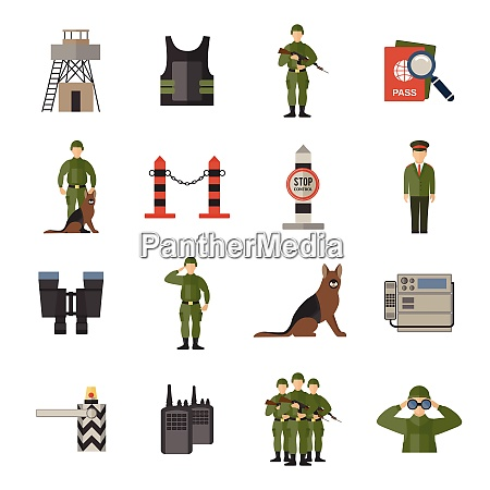 border guard icons flat set with