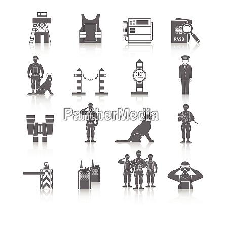 border guard icon black set with