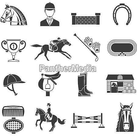 black icons set on white background