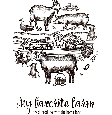 farmers market poster with hand drawn