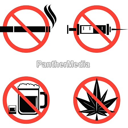 no drugs icons set with crossed