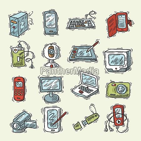 digital device sketch set with smartphone
