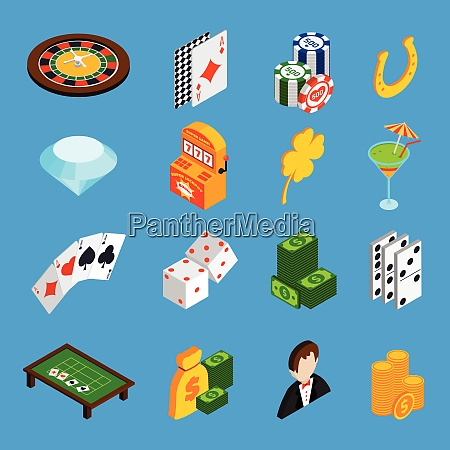 casino isometric icons set with roulette