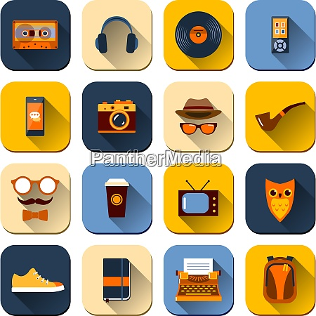 hipster icons set with mustaches glasses