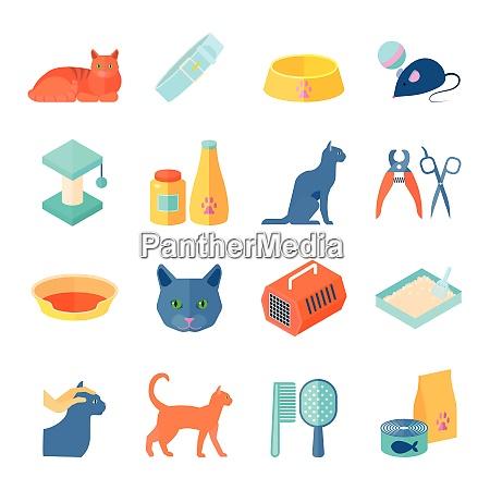 raising healthy indoor cat flat icons