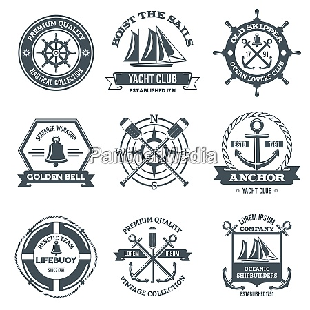 nautical label sea and ocean yacht