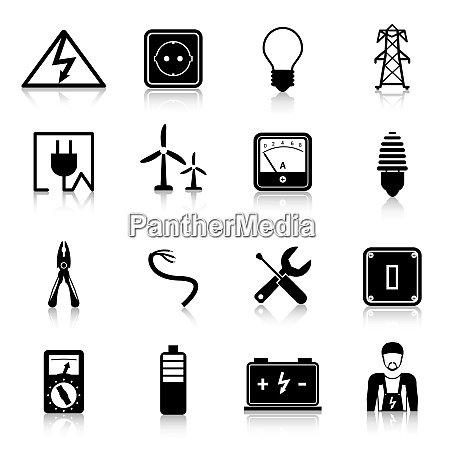 electricity icons set with industrial power