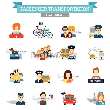 passenger transportation icon flat set with