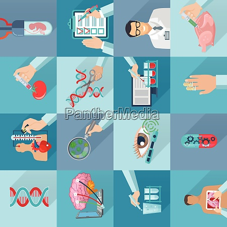 flat color isolated biotechnology icons