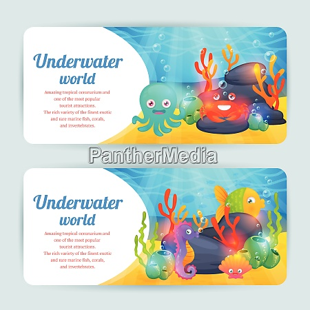 underwater tropical exotic sea animals horizontal