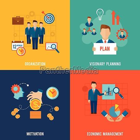 management design concept set with organization