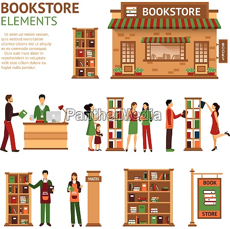 images set of bookstore elements like