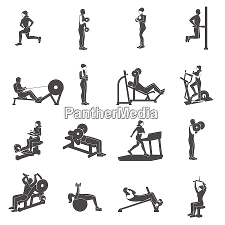 gym workout black people silhouettes flat