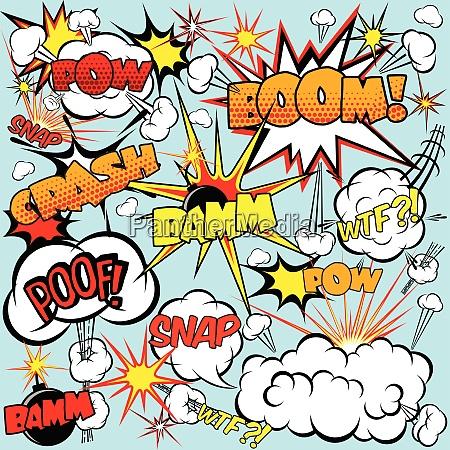 comic speech bubbles set with bombs