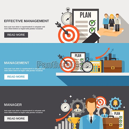 management horizontal banner set with effective