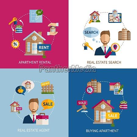 real estate design concept set with