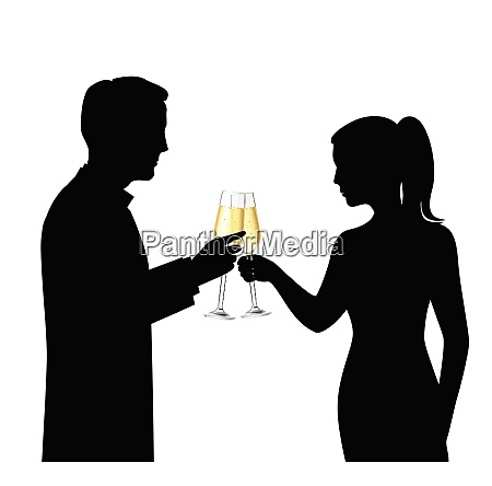 heterosexual couple black silhouettes drinking champagne