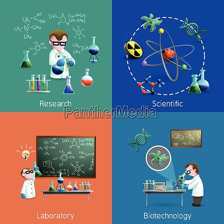 icons set with scientists conducting experiments