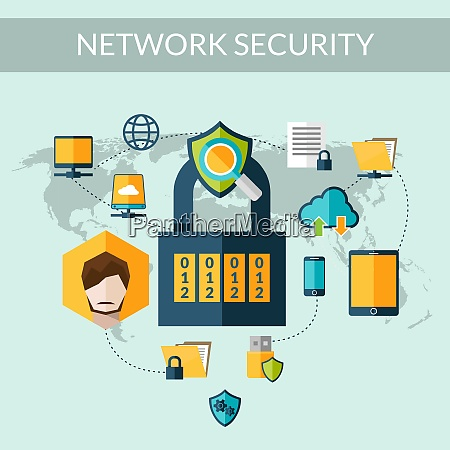 network security concept with padlock and