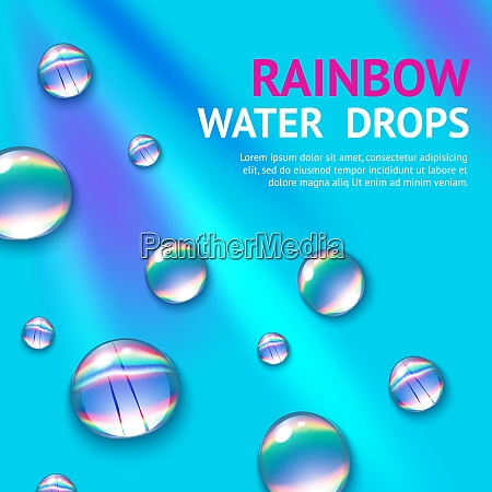 realistic water drops with colorful rainbow