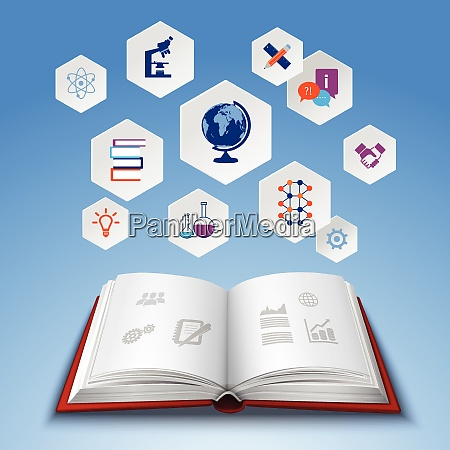 education concept with realistic open book