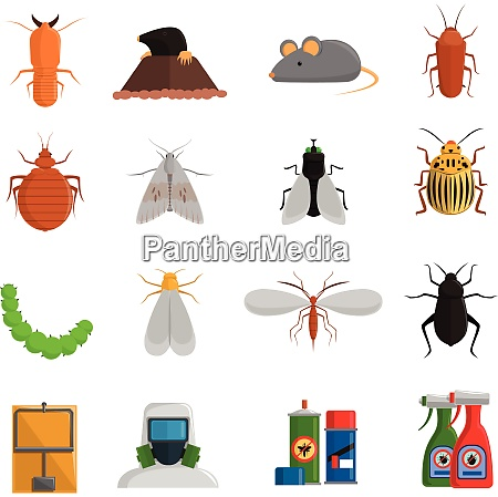 pest and and harmful insects flat
