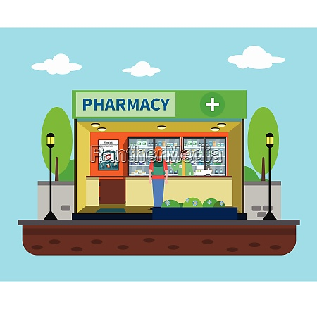 pharmacy concept with medical drugstore building
