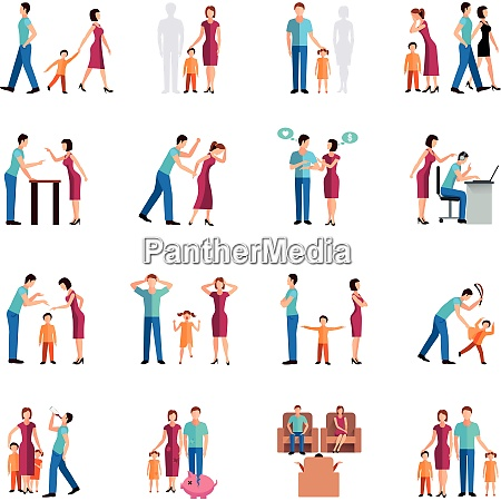 flat color icons set depicting family