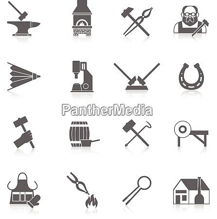 blacksmith black icon set with metal