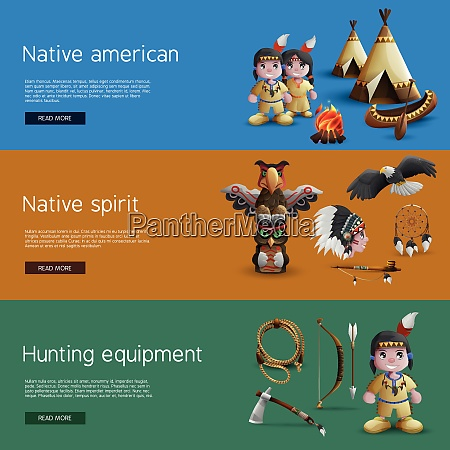 native american banners with national