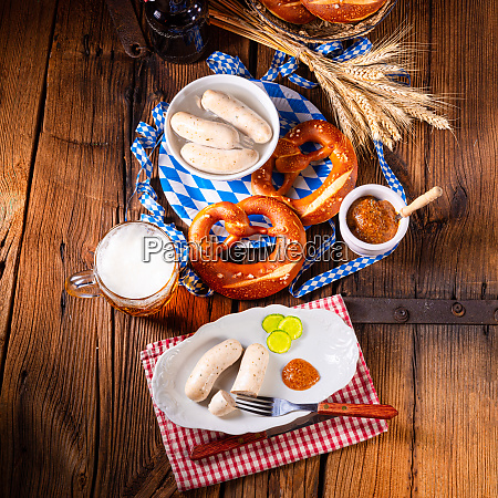 weisswurst pretzels and beer for oktoberfest