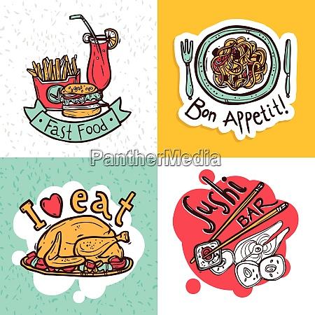 fast food restaurant 4 flat icons
