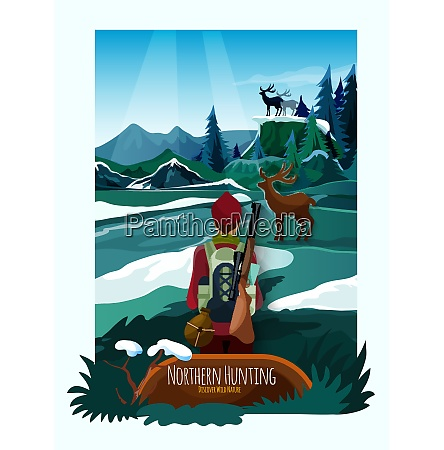 alpine meadow landscape poster with hunter