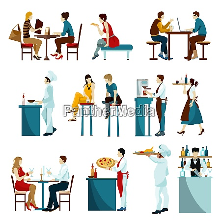 cafe restaurant daytime visitors flat icons