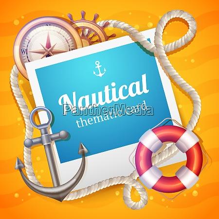 nautical card with marine and sailing