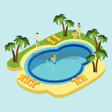 people at water park with swimming
